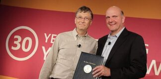 Bill Gates and Steve Ballmer commemorated Microsoft's 30th Employee Giving Campaign- Oct. 18, 2012/ Photo Credit: Microsoft Corporation