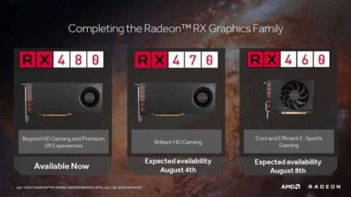 AMD Radeon RX 480 RX 470 RX 460