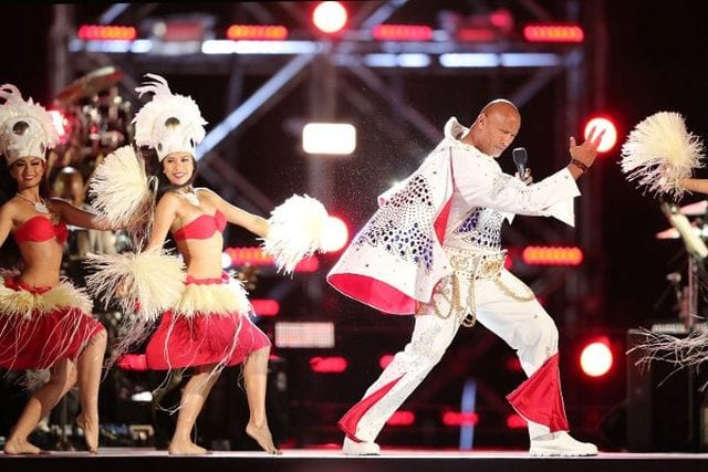 Dwayne Johnson rocked the Elvis look for annual Rock The Troops special