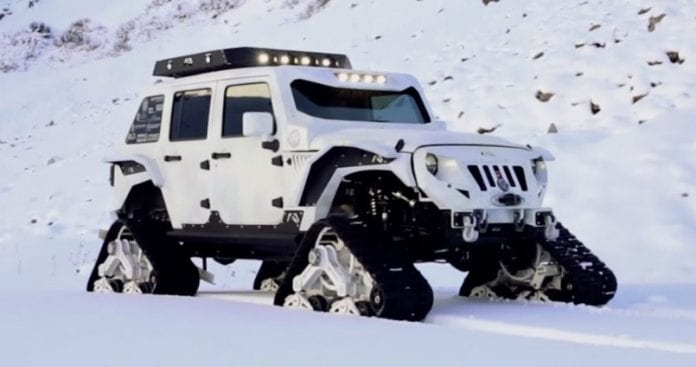 tracked stormtrooper jk jeep is called the arctic frog. Black Bedroom Furniture Sets. Home Design Ideas