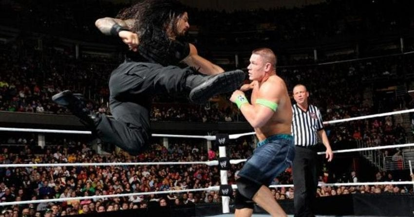 Brock Lesnar pins Roman Reigns after being carted out on stretcher