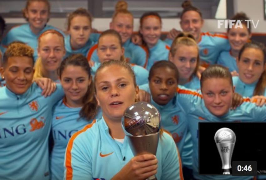 Lieke Martens with trophy 850x575