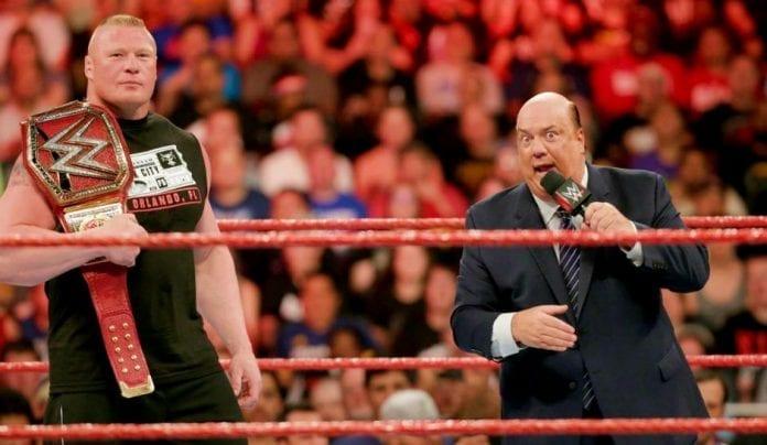Paul Heyman and Brock Lesnar Ring 696x404