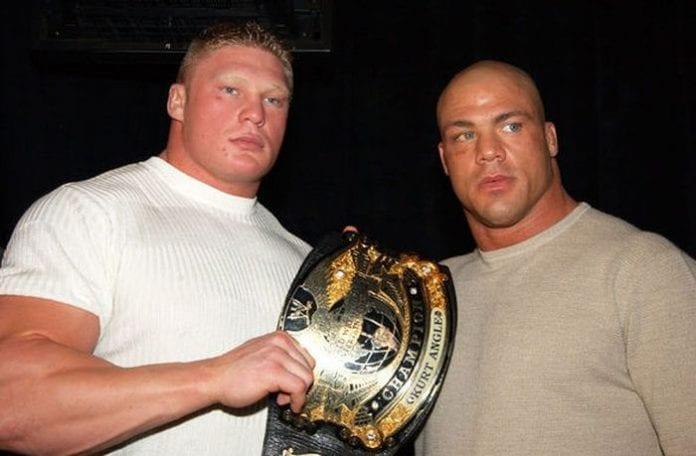 Kurt Angle and Brock Lesnar 696x456